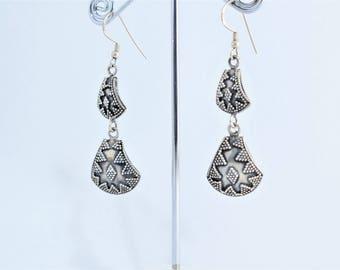 Silver earrings Sterling tribal ethnic long boho style