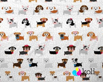 Brown Dog Fabric, Funny Dogs Material, cute Animal Fabric, bones Fabric Sewing material, Quilting Fabric