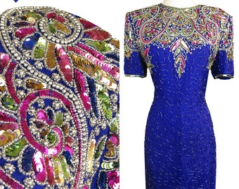 Vintage 80s Dress / 80s Sequin Dress / Sequin Beaded Dress / L Large XL Extra Cocktail Sheath Short Sleeve Cruise Glam Purple Blue Open Back
