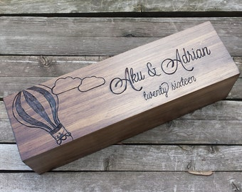 Hot air balloon wine box, wine gift box, wedding wine box, custom wine box, wine box ceremony, wedding memory box, first fight box, gift