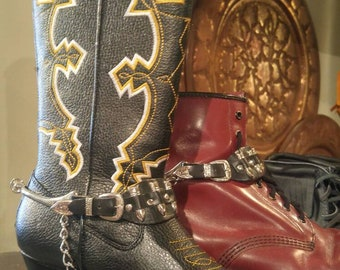 Vintage Pair black Leather Bullet boot straps with spurs