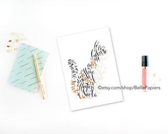 Cat Greeting Card Calico Persian Tabby Kitty Cat Card Greeting Card Thank you Card Friend Gratitude Thanks Cat Stationery Notecard note