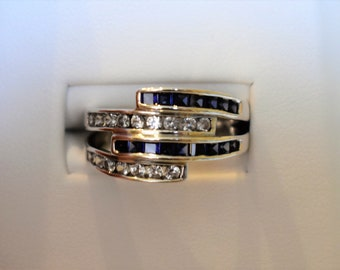 Vintage Sapphire, Topaz and Sterling Silver Ring, size 8.5