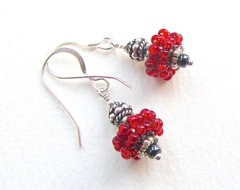 Bright Red and Silver Earrings with Beaded Beads