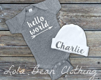 Grey & White Hello World Take Home Outfit Baby Boy Newborn Hello World Bodysuit Grey Custom Personalized Hat Beanie