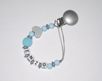Pacifier clip Pearl blue and silver wood + letters name standard this