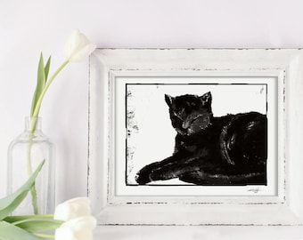 "Cat Art, black and white painting, Digital Download Original transfer to Pillows, Burlap Bags, Tags, Print, ""Baby Girl"" Kathy Morton Stanion"