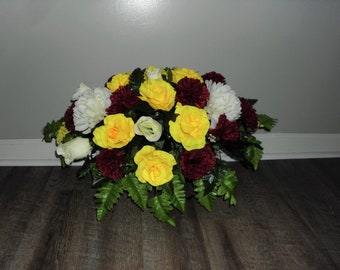 Cemetery Flowers, Tombstone Saddle, Cemetery Headstone Flowers, Grave Flowers, Maroon Carnation & Yellow Rose, Memorial Day Flowers FF766