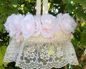 Lace- Floral flower- Chandelier- mobile-chic-baby nursery decor-crib-shabby-roses--girls room-wedding chandelier-flowers-Pearls-pink gift-