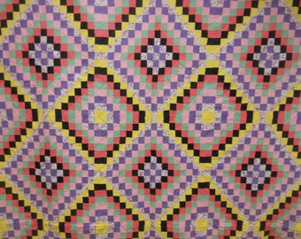 """Mint Condition!  Vintage  Jewel Box Quilt.    Hand Quilted.   92"""" x 80"""""""
