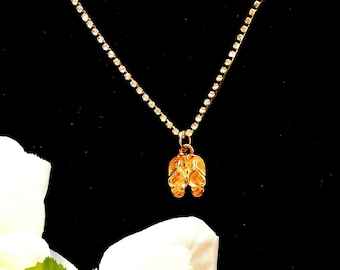Flip Flop Pendant, Gold Tone Sandal Pendant Necklace, 18 Inch Rhinestone Necklace, Beach Necklace, Christmas Gift
