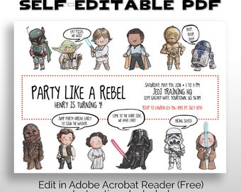 EDITABLE PRINTABLE Star Wars Party Invitation pdf DOWNLOAD, Star Wars Birthday, Baby Shower, May the 4th, May the Fourth, Star Wars Premier