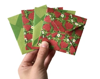 Set of 4 // Mini Square Envelopes // Strawberry Stationery // Strawberry Envelopes // Summer Stationery // Mini Envelopes / Square Envelopes