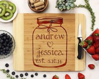 Personalized Cutting Board, Custom Engraved Cutting Board, Mason Jar, Housewarming Wedding Anniversary, Bamboo Wood --21001-CUTB-001
