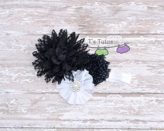 Black Lace Chiffon Shabby White Ballerina Rhinestine Headband Fabric Lace Flower Newborn Headband on super soft lace elastic all ages