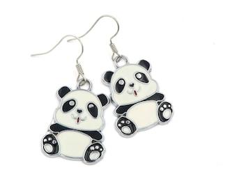 Panda bear earrings