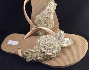 Gold Bridal Flip Flops, Gold Floral Custom Flip Flops, Gold Beige Dancing Shoes, Bridal Sandals, Wedding Flip Flops, Beach Wedding Shoes