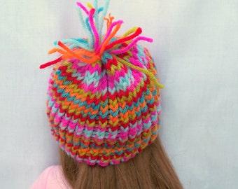 Crochet Doll Hat Confetti Full of Colors Hat Fits 18 inch doll, Handmade doll hat
