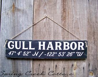 Rustic Wood Signs, Custom, Coordinates, Latitude, Longitude, Coastal Living, Nautical, Coastal Chic, Handpainted, Beach, Housewarming Gift