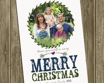 Photo Christmas Card - Merry Christmas - Wreath