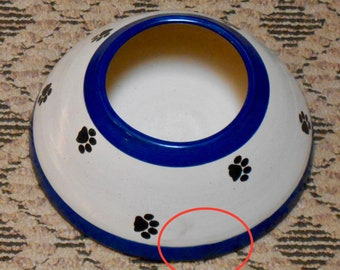 SALE!! Paw Print Long Ear Water Bowl, Electric Blue (Medium)