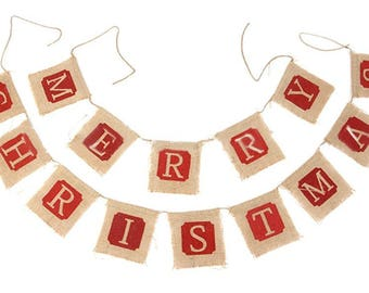 Merry Christmas Burlap Hessian Bunting Banner Flags Vintage Christmas Xmas Party Hanging Decorations