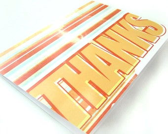 Retro Stripes - Blank 4x5.5 Thank You Card, Single or Set of 4 - Red Orange Yellow 1970s 1980s Vintage Style Stationary