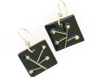 Abstract Silver and Glass Enamel Copper Abstract Minimalist Dangle Drop Earrings, Mid Century Modern Inspired Vintage Style