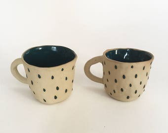 """Duo of cups in stoneware collection """"Rain"""".  Handmade in my Studio. Ready to be shipped."""