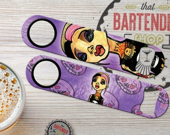 Special Edition: Punkette Punk Rock Girl (1A) by InVi Monster Personalized Bartender Speed Bottle Opener | Add Name/Text | FREE SPINNER RING