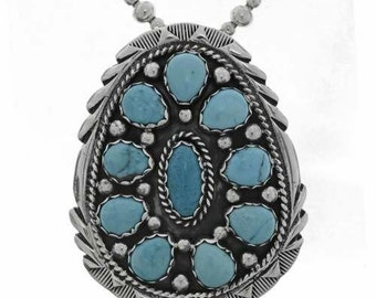 Silver Turquoise Pendant Cluster Design Natural Beauty Sleeping Stones Navajo Jewelry