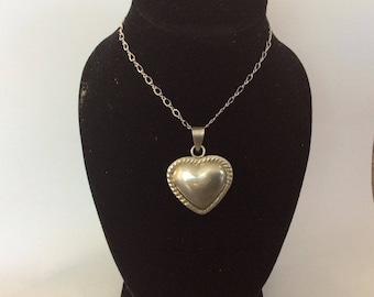Sterling silver Puffy heart pendant and necklace #152