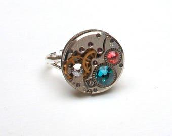 Ring shows 50's and Swarovski turquoise, salmon and diamond