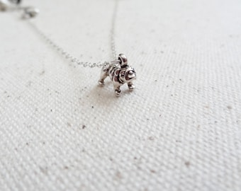 Sterling silver bulldog necklace  - dog charm necklace - minimal jewelry - gift for her - layering jewelry - dog lover - french bulldog