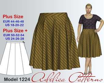 Gored Skirt Sewing Pattern for sizes 18-28 , Plus size Skirt PDF Instant Download Sewing Pattern/Skirt Sewing Pattern
