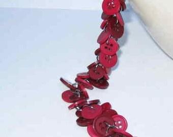 Chunky Buttoned Bracelet Burgundy and Merlot