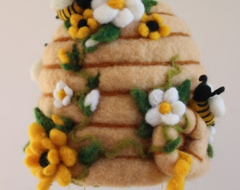 Needle Felted Honey Bee Hive with Flowers and Bees,  Natural Wool, White and Yellow Flowers, Utah, Golden Honey