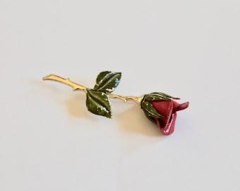 Vintage 1950s/1960s Red Rose Stem Enamel Flower Pin/Brooch
