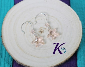 Earrings Silver 925 Starfish Silk Swarovski Element