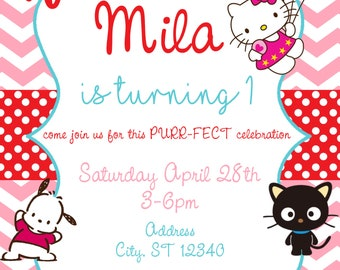 Hello Kitty Sanrio Birthday Invitation