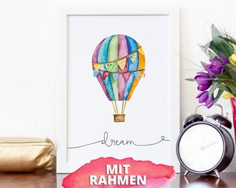 "Poster with frame A4, watercolor illustration hot air balloon, lettering ""dream"""