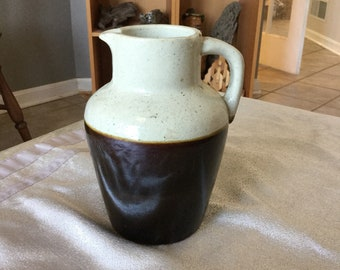 Old Stonewear Milk Pitcher, Unmarked Vintage Brown Band Pottery Jug
