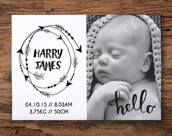 Printable birth announcement - arrows // monochrome // custom personalised design //  6x4inch
