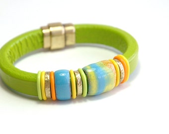 Leather Bracelet, Bangle, Spring jewelry, Lime green, Pistachio Licorice leather, Magnetic bracelet, Brass, Women's Jewelry, one of a kind