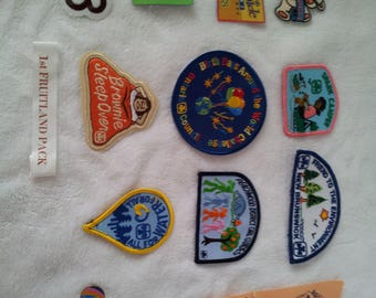 Large Collection of Vintage Brownies/Girl Scouts of Canada Sash  with badges Collection with Buttons and Pins