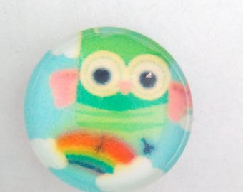 5 cabochons round glass Rainbow OWL