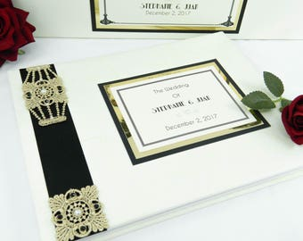 """The """"Gatsby"""" Wedding Guest Book - Art Deco 1920's LARGE SIZE"""
