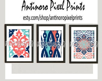 Art Prints Ikat Prints Navy Turquoise  Coral White Wall Art Modern Inspired -Set of (3) 11x14 Prints -  (UNFRAMED)