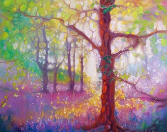 Print on Canvas - April in the Forest - a bluebell and wildflower woodland painting