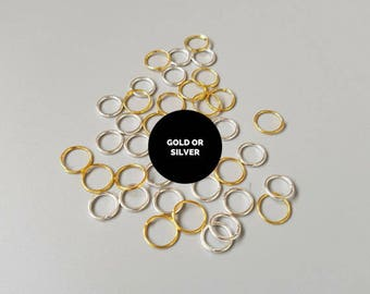 20 9mm open jump rings, gold plated jumprings, silver jewelry findings, basic jewellery supplies, large split rings, uk